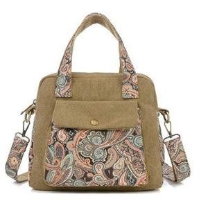 Handbags - Khaki Paisley Canvas Tote Shoulder Bag